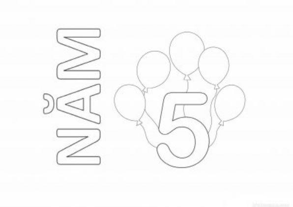 Mẫu tranh tô màu hình chữ sô 5 dành cho bé tập tô