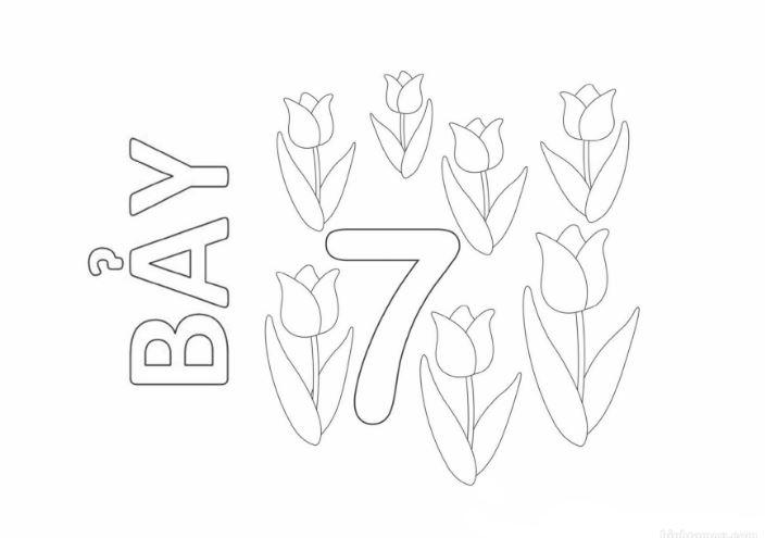 Mẫu tranh tô màu cho bé hình chữ số 7