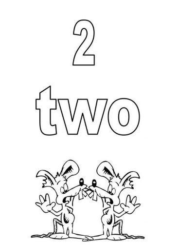 Mẫu tranh tô màu cho bé hình chữ số 2 trong tiếng anh