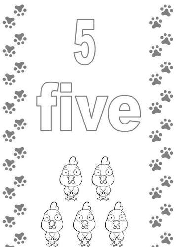 Mẫu tranh tô màu hình chữ số 5 trong tiếng anh dành cho bé