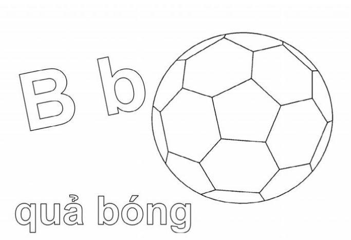 Mẫu tranh tô màu hình chữ B dành cho bé tập tô