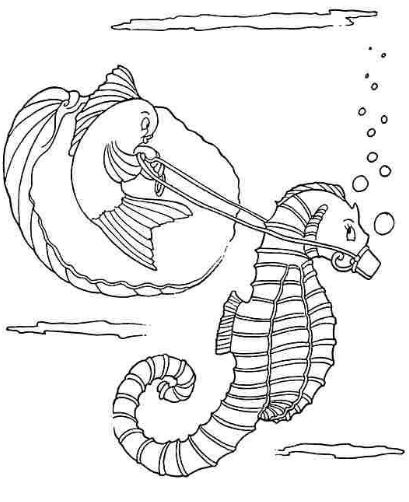 Mẫu tranh tô màu cho bé hình chú cá ngựa