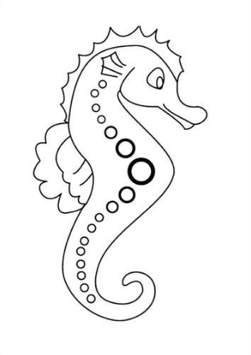 Mẫu tranh tô màu hình chú cá ngựa dành cho bé từ 2 đến 5 tuổi