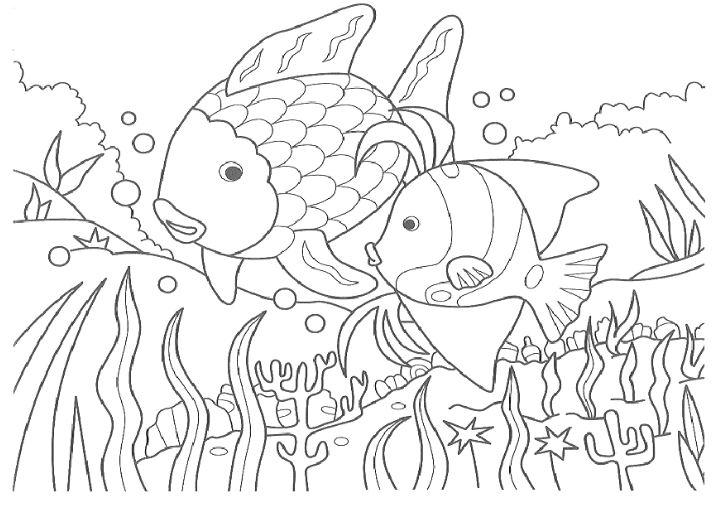 Mẫu tranh tô màu cho bé từ 2 đến 5 tuổi hình 2 con cá dễ thương