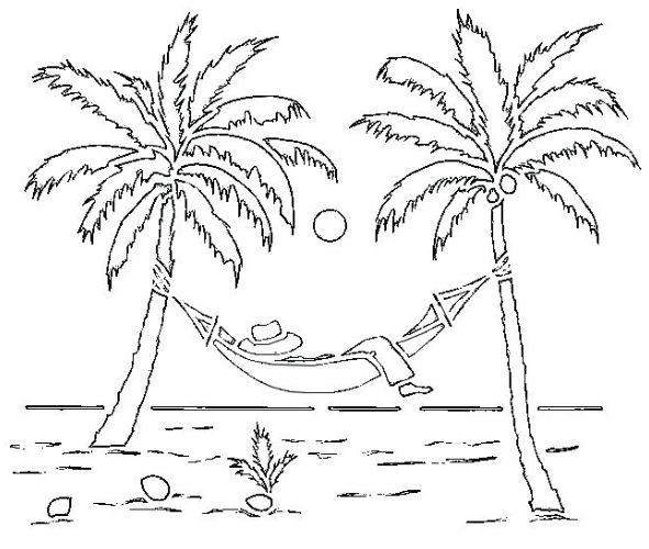 Mẫu tranh tô màu cho bé mầm non hình cây dừa