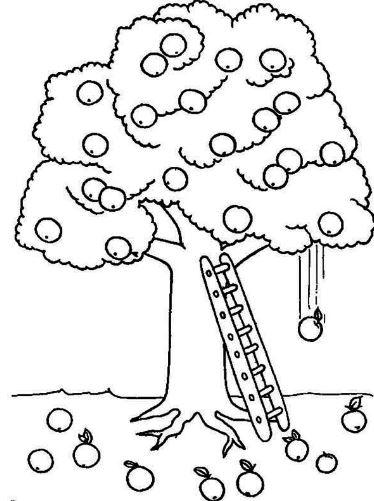 Mẫu tranh tô màu cho bé hình cây táo
