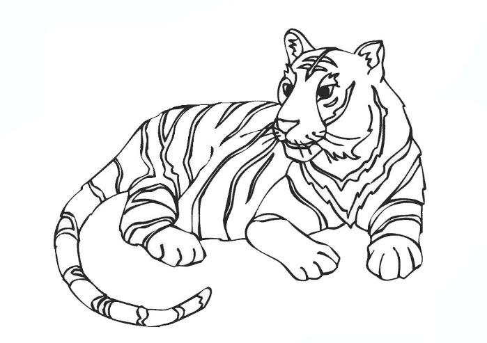 Mẫu tranh tô màu hình con hổ dành cho bé tập tô