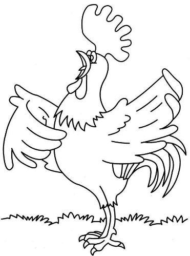 Mẫu tranh tô màu cho bé hình chú gà trống đang gáy o ó o o...