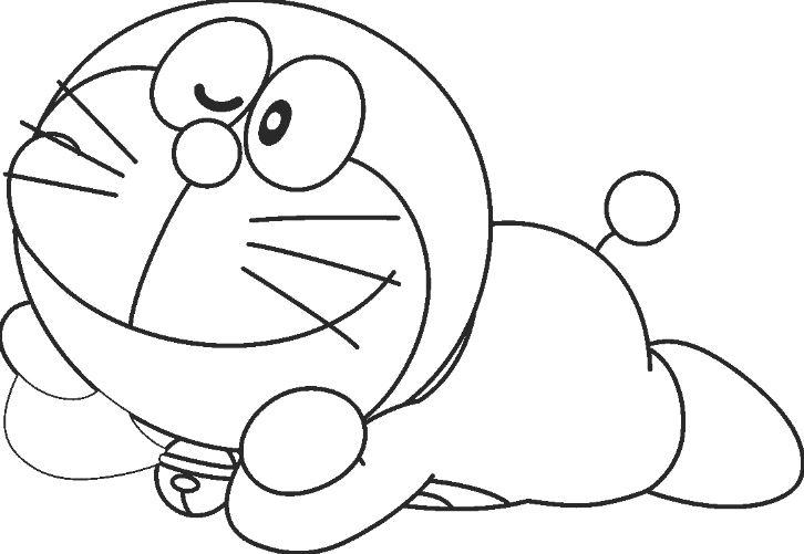 Mẫu tranh tô màu hình chú mèo máy Doreamon đáng yêu dành cho bé