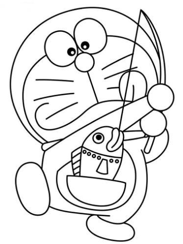 Mẫu tranh tô màu dành cho bé chú mèo máy Doreamon câu cá từ túi bảo bối