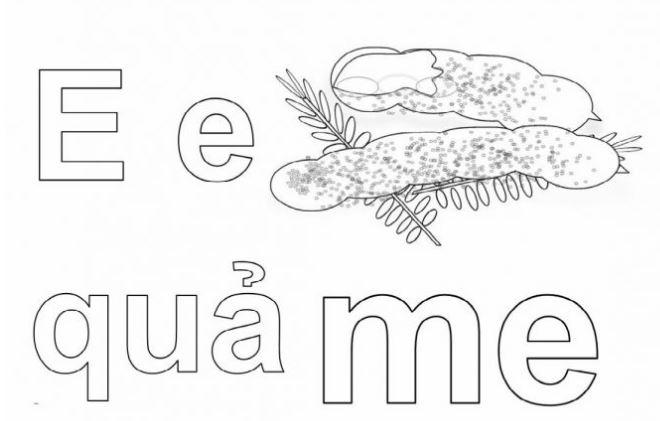 Mẫu tranh tô màu hình chữ E dành cho bé tập tô