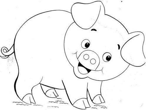 Mẫu tranh tô màu cho bé hình chú lợn con đáng yêu