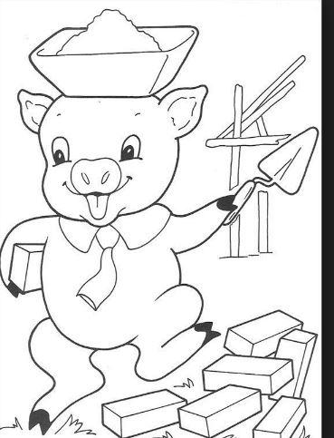 Mẫu tranh tô màu hình chú heo đang xây nhà dành cho bé