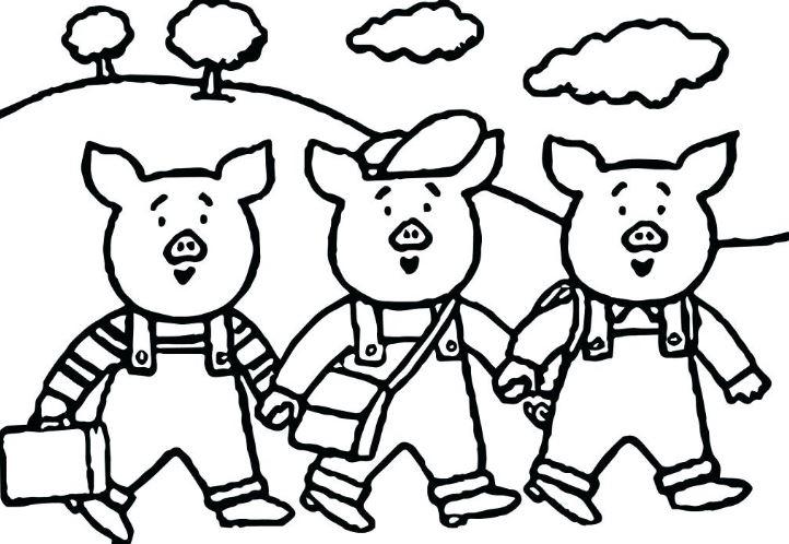 Mẫu tranh tô màu dành cho bé 3 chú heo con đi học