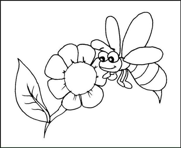 Mẫu tranh tô màu hình bông hoa và con ong