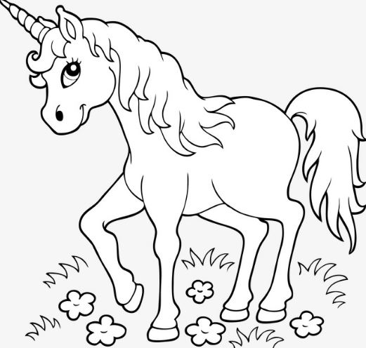 Mẫu tranh tô màu dành cho bé hình chú ngựa với chiếc sừng