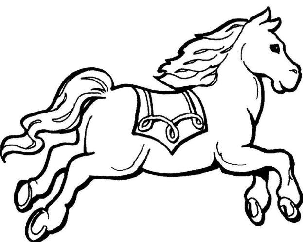 Mẫu tranh tô màu cho bé hình chú ngựa đang chạy
