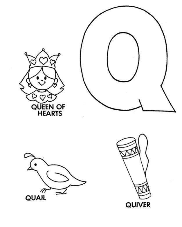 Mẫu tranh tô màu cho bé hình chữ Q