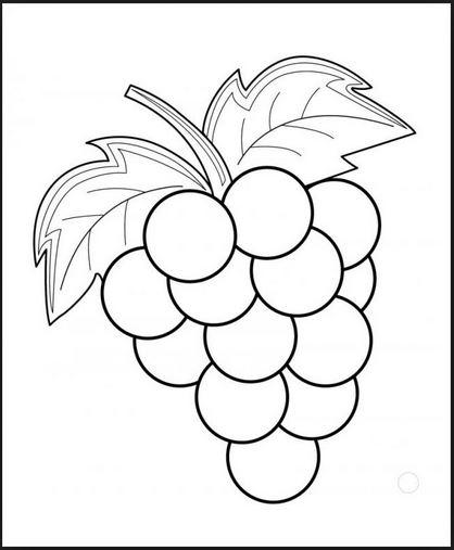 Mẫu tranh tô màu hình quả nho