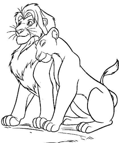 Mẫu tranh tô màu cho bé hình 2 con sư tử