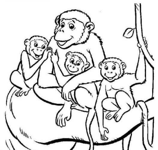 Mẫu tranh tô màu cho bé hình gia đình nhà khỉ đang hạnh phúc