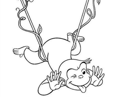 Mãu tranh tô màu hình chú khỉ đang trêu đùa dành cho bé