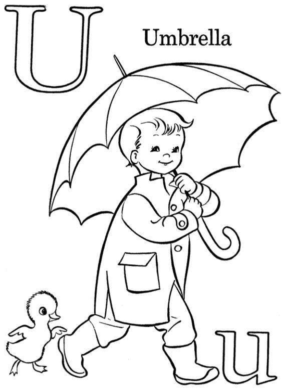 Mẫu tranh tô màu hình chữ U cho bé tập tô