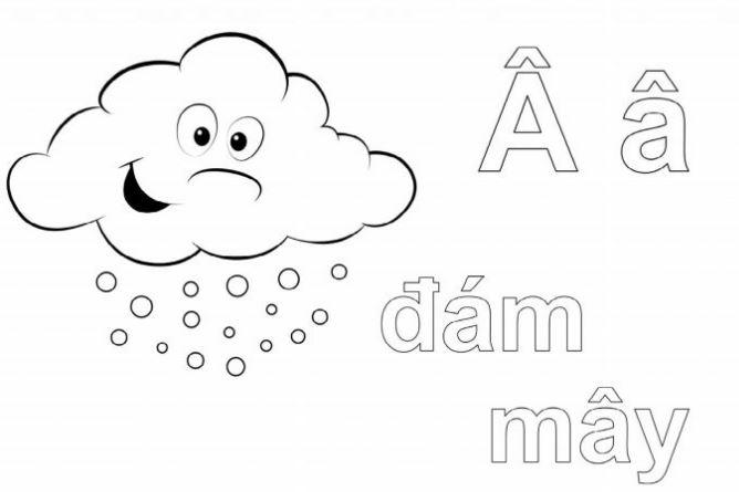 Mẫu tranh tô màu hình chữ Â dành cho bé tập tô