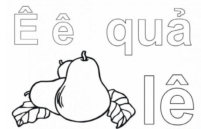 Mẫu tranh tô màu hình chữ Ê cho bé tập tô