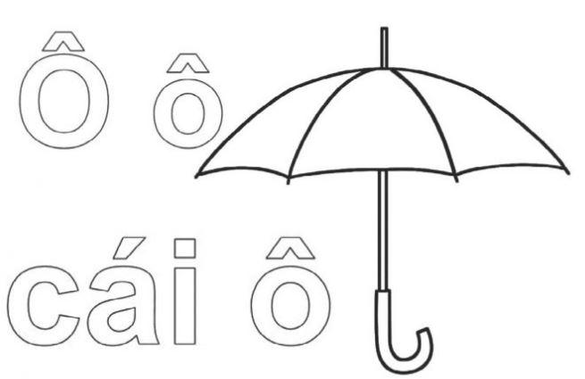 Mẫu tranh tô màu cho bé tập tô hình chữ Ô