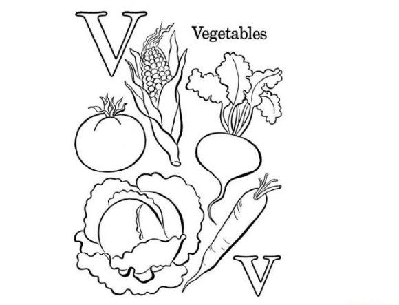 Mẫu tranh tô màu hình chữ V dành cho bé tập tô