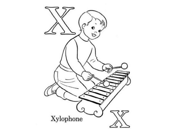 Mẫu tranh tô màu hình chữ X dành cho bé tập tô