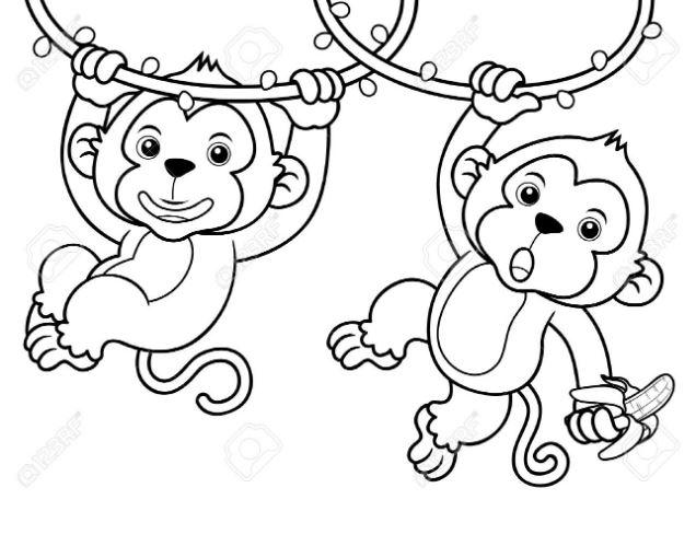 Mẫu tranh tô màu cho bé hình 2 chú khỉ con đang đu dây