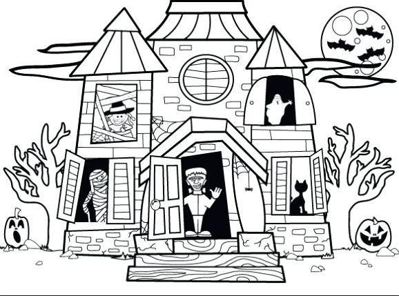 Mẫu tranh tô màu cho bé hình ngôi nhà cổ tích dành cho bé tập tô