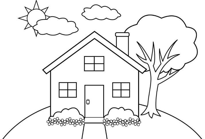 Mẫu tranh tô màu hình ngôi nhà đẹp dành cho bé tập tô