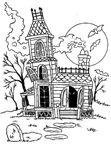 Mẫu tranh tô màu cho bé hình ngôi nhà ma quái trong truyện cổ tích