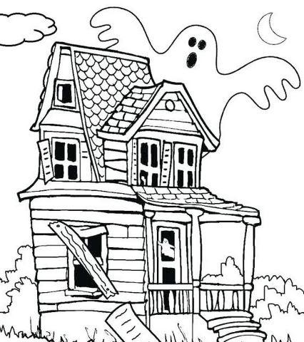 Mẫu tranh tô màu cho bé hình ngôi nhà ma
