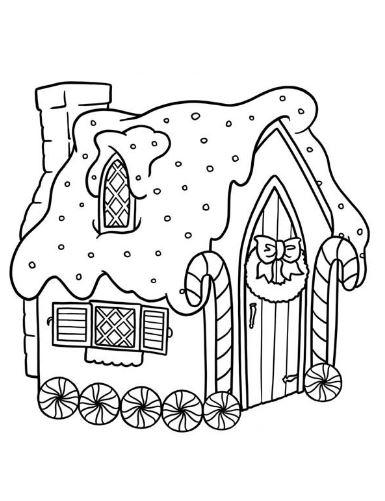 Mẫu tranh tô màu cho bé hình ngôi nhà cổ tích