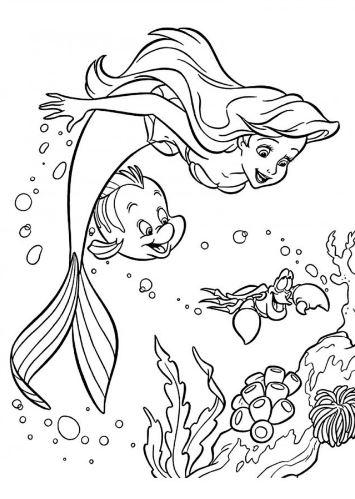 Mẫu tranh tô màu nàng tiên cá xinh đẹp dành cho bé gái