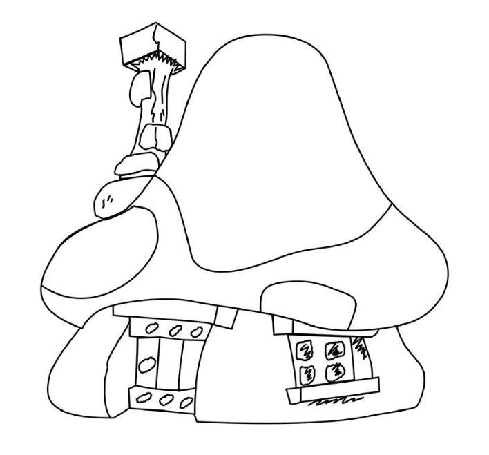 Mẫu tranh tô màu cho bé hình ngôi nhà nấm trong phim hoạt hình