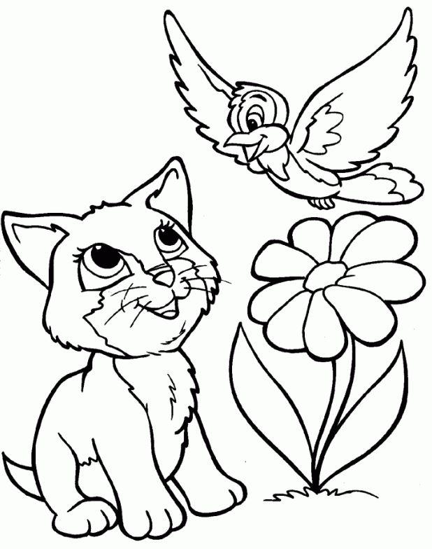Mẫu tranh tô màu cho bé hình con mèo và bông hoa