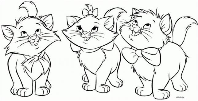 Mẫu tranh tô màu hình ba con mèo dễ thương dành cho bé tập tô