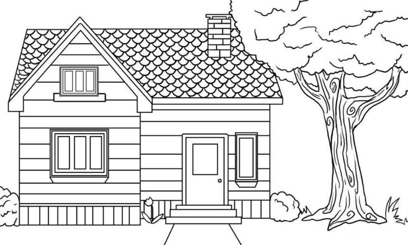 Mẫu tranh tô màu cho bé hình ngôi nhà