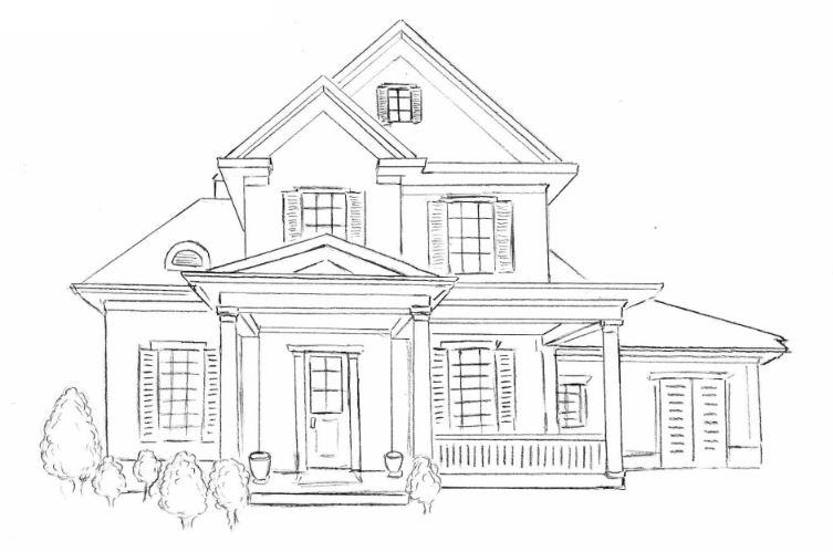 Mẫu tranh tô màu cho bé hình ngôi nhà biệt thự sang trọng