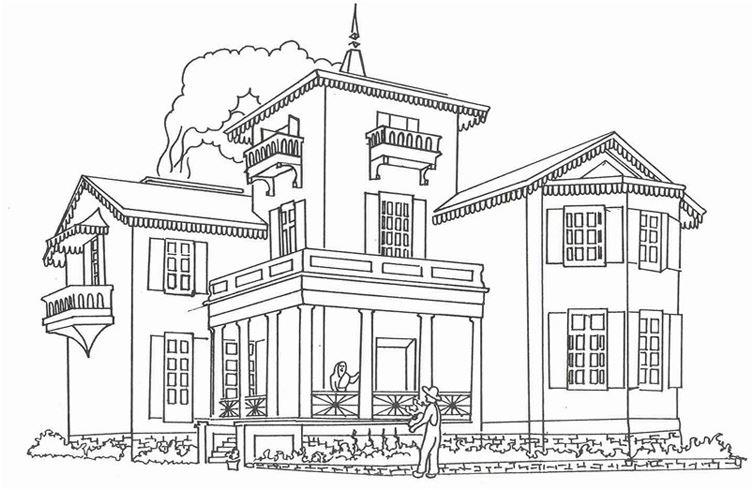 Mẫu tranh tô màu cho bé tòa nhà biệt thự