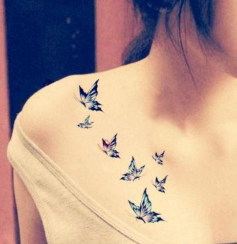 hình xăm ở ngực dành cho Nữ đẹp nghệ thuật với bướm đẹp