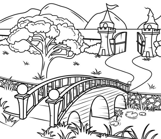 Tranh tô màu phong cảnh quê hương gắn liền với hình ảnh cây cầu, con sông