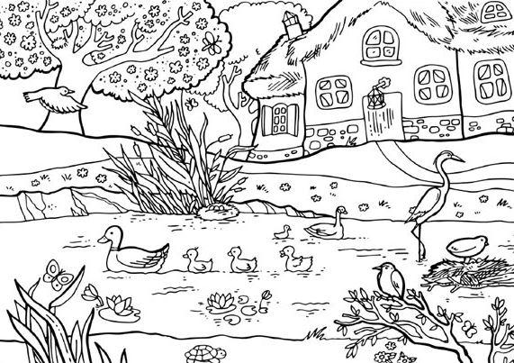 Tranh tô màu phong cảnh quê hương gắn liền với đàn vịt, con cò dành cho bé tập tô