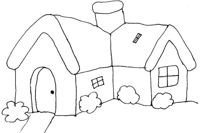 Tranh tô màu ngôi nhà vùng nông thôn thật bình dị dành cho bé tập tô