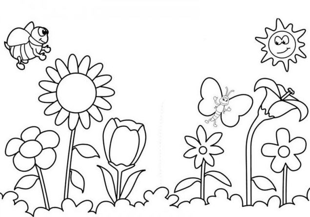 Mẫu hình tô màu những bông hoa đua nhau nở khi xuân về tết đến